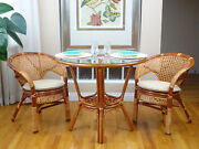 Pelangi Rattan Wicker Set Of 2 Chairs W/cushion And Round Dinning Table