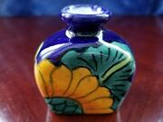 Hand Made Pottery Ceramic Vase Signed MEX Blue Yellow Green Flowers