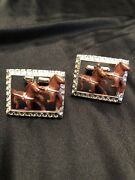 Vintage Race Horse Men's Cufflinks Ky Derby Collectible Accessory Gift Gold Tone