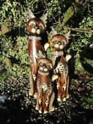 Fairtrade Hand Carved Made Wooden Brown Cat Statues Set Of 3 Sculpture Ornaments