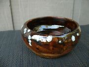 Vtg Hand Made Red Clay ? Stoneware Pottery Planter Bowl Vessel Signed Handmade