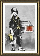 Boy With Dance Mat By Banksy | Framed Canvas | Wall Art Oil Painting Poster Hd