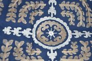 139 New Pottery Barn Hanukkah Table Throw Embroidered Navy White Gold 50 X 50