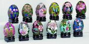 Set Of 12 Cloisonne Enamel Eggs W/ Wooden Stand, Multicolor, Holiday, 2 4480
