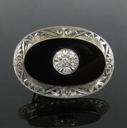 Vintage 0.75ct Diamond And Onyx 18k White Gold Hand Carved Pin Brooch