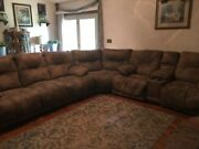 Tan Color Sectional Couch Nice 2 Power Reclines 3 Manual Reclines