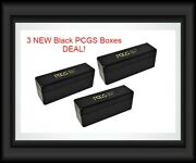 3 New Official Pcgs Black Boxes 20 Graded Certified Coin Slab Plastic Storage