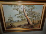 Old Austrailan Oil Painting By Simpson The Old Gum Oil On Panel