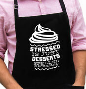 Stressed Is Desserts Funny Novelty Apron Gift For Dad, Husband, Fathers Day