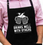 Drink Well With Others Funny Novelty Apron Gift For Dad, Husband, Christmas Gift