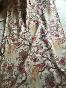 Antique French Linen Curtain - Birds Of Paradise And Flowers - 1920' - Alsace