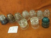 Antique 10 Electrical Telephone Line Insulators Glass Pyrex Hemingray Armstrong
