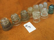 10 Vintage Electrical Telephone Line Insulators Glass Pyrex Hemingray Armstrong