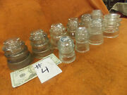 10 Antique Electrical Telephone Line Insulators Glass Pyrex Hemingray Armstrong