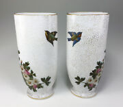 Early Baccarat White Opal Crystal Birds In Flight And Wild Pink Twinged Daisies