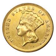 1874 3 Gold Indian Princess Cleaned Ex-jewelry Au Details Coin
