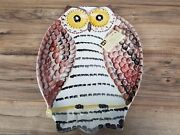 """Hand Painted Owl Shaped 18"""" X 13"""" Dish Platter Centerpiece By Ceramiche M.c."""
