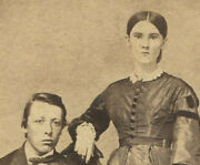 Civil War Era Cdv With Tax Stamp. Couple In Affectionate Pose. Owego N.y.