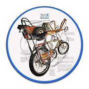 1970and039s Sears Brand Screamer Bicycle Design Reproduction Circle Aluminum Sign