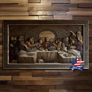 Wood Icon Last Supper Orthodox Jesus Carved Picture Painting Panel Decor Artwork