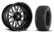 20 20x10 D611 Stroke Black Wheels 35 Fuel At Tire Package 5x150 Toyota Tundra