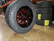20 20x10 D612 Stroke Red Wheels 35 Fuel At Tire Package 5x5.5 Dodge Ram 1500