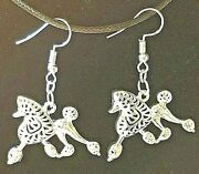 Poodle In Motion Dog Gold Or Silver Alloy Drop Hook Earrings Jewelry