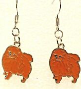 Pomeranian Dog Brown Tiny Earrings Dangle Silver Hook Handcrafted Jewelry