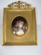 19th Century Egyptian Revival Limoge Enamel Signed Painting In Period Frame
