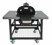 Primo Oval Jr 200 Ceramic Smoker Grill On Cart With Ss Side Tables