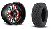 22 22x12 D612 Stroke Red Wheels 33 Fuel Mt Tire Package 5x150 Toyota Tundra