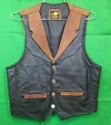 All American Hand Made Two Tone Western Leather Vest With Buffalo Nickel Snaps