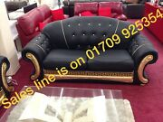 Versace Leather Sofa In 3 Seater And 2x Arm Chairs