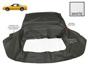 Ford Mustang 1983-1993 Convertible Soft Top And Plastic Window White Pinpoint