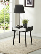 Side End Table Night Stand With Drawer Black Walnut Espresso Or White 22.5 H