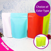 4x6in Matte Double-sided White Red Green Blue Foil Stand Up Zip Lock Pouch Bag M