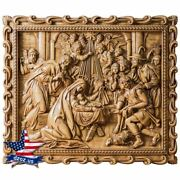 Carved Wood Icon Nativity Birth Of Jesus Picture Painting Decor Sculpture Art 3d