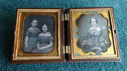 1/6 Plate 2 3/4 X 3 1/4 Double Daguerreotype Tinted Union Case May 28 1856 Nyc