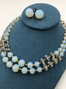 Opal Glass Antique Vintage Necklace Earrings Set Moonstone Opalescent Crystals