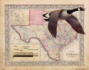 Vintage Goose Duck Hunting Texas State Map Art Print Calls Decoys Cabin Du Map28