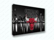 Chicago Bulls Black And White City Sports Painting Canvas Print Art Decor Wall