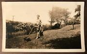 Vintage Photo Reel Push Lawn Mower Mom And Young Boy Son