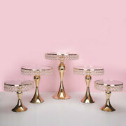 New Arrive Gold Crystal Wedding Cake Stand Set Electroplating Gold Mirror Face