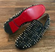 Christian Louboutin Rollerboy Mixed Spikes Leather Flats Loafers Mens Sz 42 -new
