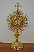 + Nice Older French Monstrance With Luna + 17 3/4 Ht. + Cu-m43 + Chalice Co.