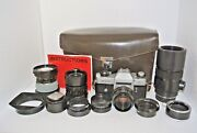 Stock 817 Leicaflex Sl Film Camera With 4 Lenses Extension Tube Hoods Fitted