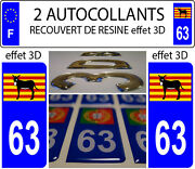 2 Stickers Car Registration Plate Doming 3d Resin Donkey Catalan Burro Dep 63