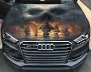 Vinyl Car Hood Wrap Full Color Graphics Decal Pirateand039s Ships Skull Cloud Sticker