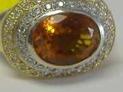 Vintage 14k Solid Gold Imperial Topaz And 0.43ct Diamond Massive Ring Size 7