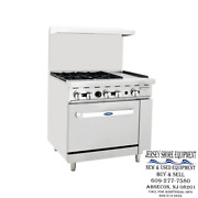 Atosa Ato-4b12g 36 Gas Range 4 Open Burners And 12 Griddle W/ One 26and039 Wide Oven